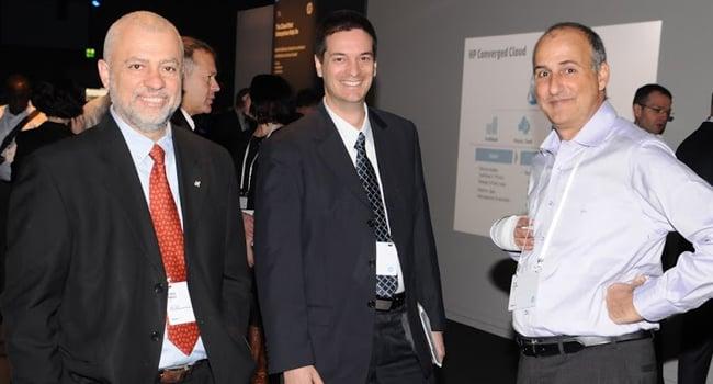 """אריק יפה, מנהל המכירות ב-HP; גיל רבינוביץ', מנמ""""ר אמדוקס; יהושע בקולה, מנכ""""ל HP"""