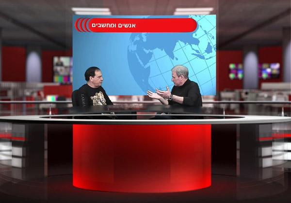 """פלי הנמר (משמאל) משוחח עם דויד בוטנרו על הפורמט המתאים - רצועת שידור קבועה בשם """"אנשים ומחשבים בשידור חי"""", שתשודר ברחבי הרשת ושבה יתראיינו בכירי התעשייה, הכלכלה והממשל"""