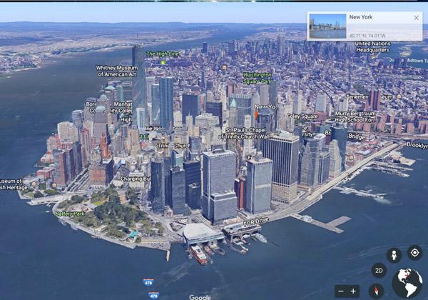 סיור בניו-יורק עם הגרסה החדשה של Google Earth. צילום: אתר החברה