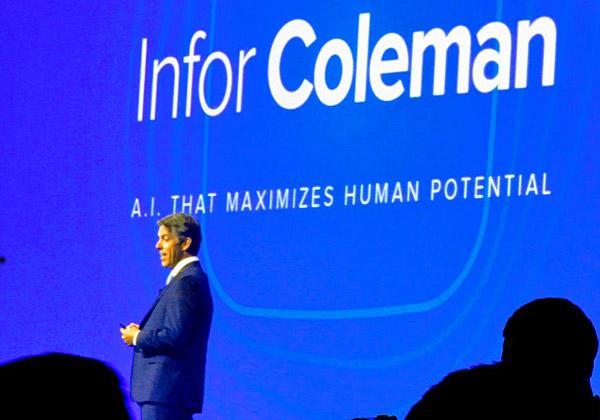 הכרזת פלטפורמת הבינה המלאכותית קולמן מבית Infor בכנס בניו-יורק. צילום: פלי הנמר