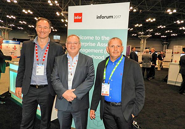 """בהאב של Infor EAM. משמאל: פרדריק רוסו, סמנכ""""ל המוצר Infor EAM באירופה וב-IMEA; ערן גוטמן, מנמ""""ר שיכון ובינוי; ומאיר גבעון, מנכ""""ל GIV Solutions. צילום: פלי הנמר"""