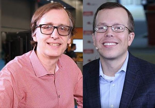 """מימין לשמאל: מתיו היקס, סגן נשיא להנדסת תוכנה, OpenShift וניהול ברד-האט, וג'ון גוסמן, ארכיטקט Azure מוביל במיקרוסופט. צילום: יח""""צ"""