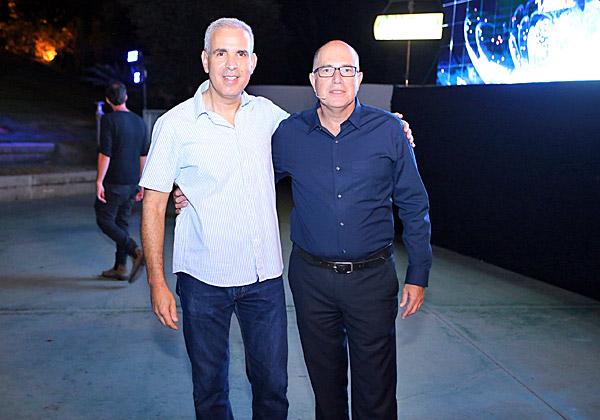 """מימין: אודי וינטראוב, מנכ""""ל מלם תים; והראל יפהר, מנכ""""ל AWS ישראל. צילום: בן עמי קרן"""