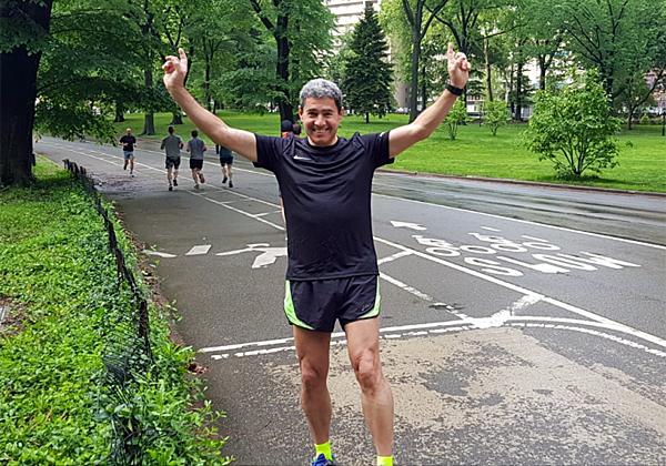 """מנכ""""ל מטריקס, מוטי גוטמן, התאמן במרץ על מנת להשתתף במרוץ, וכשלא התאפשר לו לעשות כן, קיים מרוץ עצמאי משלו בסנטרל פארק בניו-יורק. צילום: יח""""צ"""