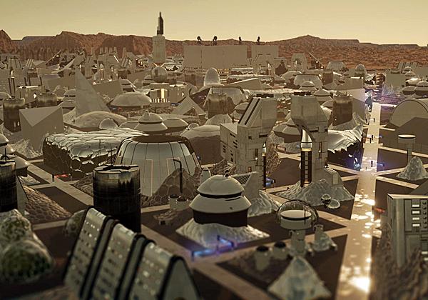 כך תיראה עיר על המאדים - לפחות לפי הפרויקט של HP. מקור: יח